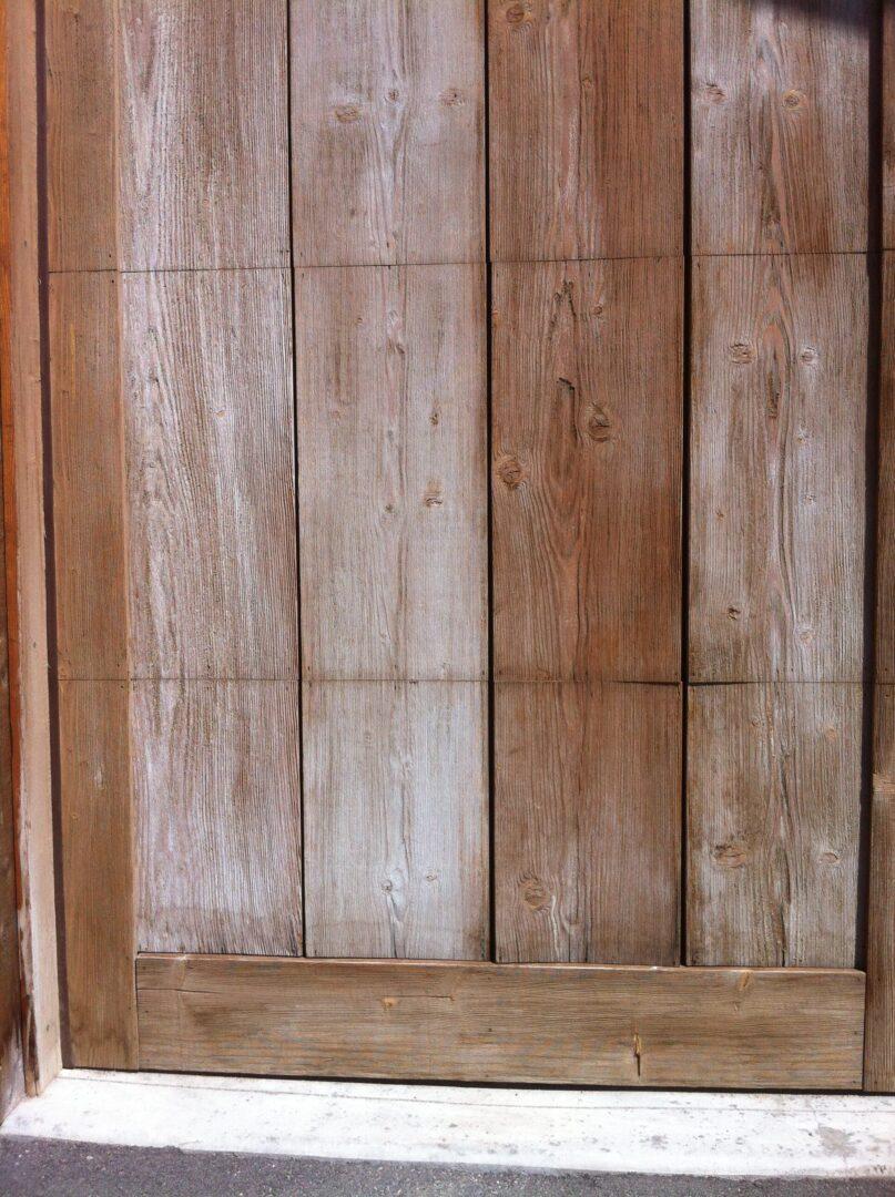 Door with wooden finish