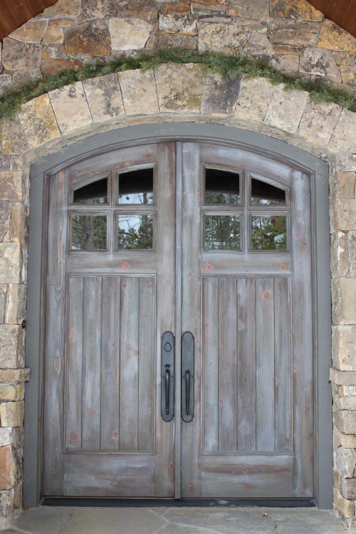 Large rustic wooden door